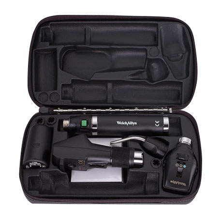 18335-SS: Diagnostic Set with Coaxial Ophth, Retinoscope,Lithium-Ion handle and Transilluminator